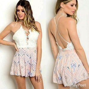 🆕️ Luxmi Pink Crochet Paisley Lace Up Romper